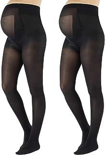 2 Pares Medias Premama Opacas | Panty Para Futura Mama | 40 Den | Negro, Azul Marino | S, M, L, XL | Calcetería Italiana |
