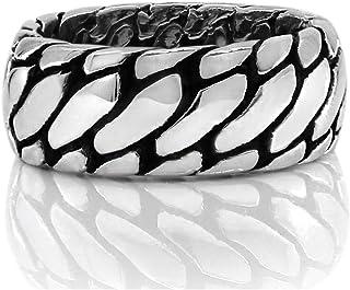 خاتم فضة صلب عيار 925 من الفضة الإسترلينية الثقيلة للرجال مقاس 7 إلى 13