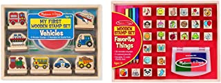 Melissa & Doug First Wooden Stamp Set – Vehicles & Wooden Favorite Things Stamp Set