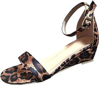 BEAUTYVAN Summer Platform Sandals,Womens Elegant Leopard Print Open Toe Low Wedge Sandal