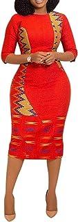 VERWIN Split Half Sleeve Mid-Calf Print Round Neck Mid-Waist Sheath Midi Dress Bodycon Dress
