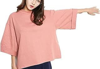 【ロプクス】LOPKS. 七分袖カットソー 首が伸びづらいTシャツ トレーナー 大きめ 厚手ティー ゆったり Uネック Tシャツ カットソー 柔らかい 無地 レディース 首つまり 3色