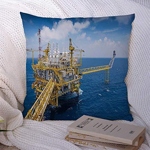 Fundas de almohada decorativas para sofá cama Sofá Plataforma azul Plataforma de procesamiento central de gas y petróleo Planta de tecnología industrial superior Trabajo de la industria de grúas Funda