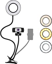 1080P Webcam Lighting Kit with Microphone, 3.5 Inch Selfie Ring Light, and Mount Stand, 360 Degrees Flexible Arms, for Liv...