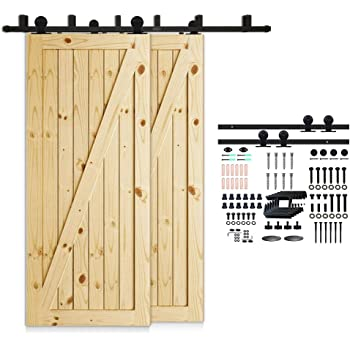 Amazon Com Homacer Sliding Barn Door Hardware Bypass Double Door Kit 20ft Flat Track Z Shape Bracket Classic Design Roller Black Rustic Heavy Duty Interior Exterior Use Home Improvement