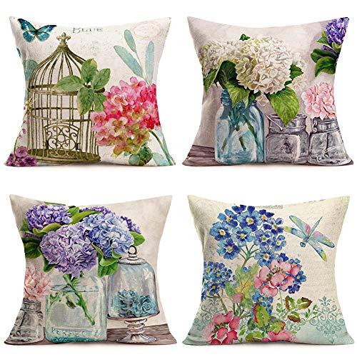 Hopyeer 4Pcs Rustic Romantic Outdoor Floral Decor Throw Pillow Covers Hydrangea Flowers Bird Nest Bottle Dragonflies Butterflies Cotton Linen Pillowcase Home Sofa Cushion Cover 18