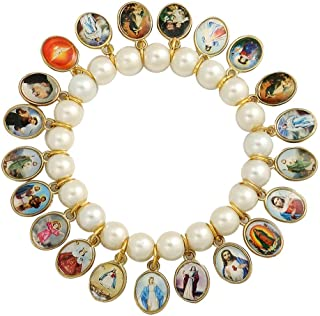 Catholica Shop Stretch Bracelet with 21 Medals of Mary, Jesus & Other Saints - Made in Brazil