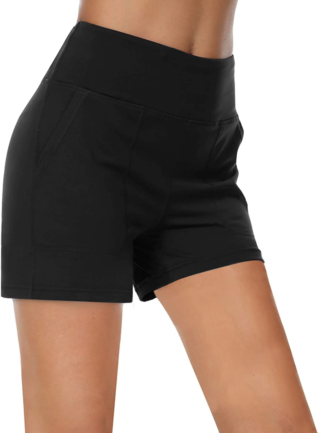 ChinFun High Waist Yoga Shorts for Women Tummy Control Athletic Lounge Workout Running Shorts with Pockets