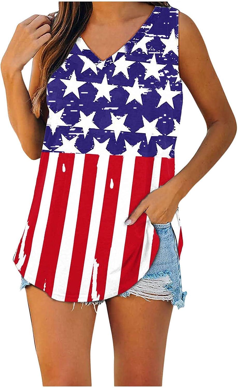 Siviki Ameican Flag Printed Mail order cheap Tank Tops Latest item Summer V for N Beach Women