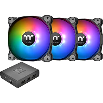 Thermaltake Pure Plus 12 RGB TT Premium Edition 120mm Software Enabled Circular 9 Controllable LEDs RGB PWM Case Radiator Fan 3Pack, TT RGB PLUS Software, AI Interactive Voice Control CL-F063-PL12SW-A