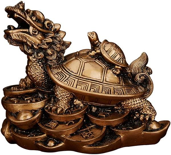 Feng Shui Resin Dragon Turtle Wealth Protection Statue Home Decor Symbol Of Longevity Bronze