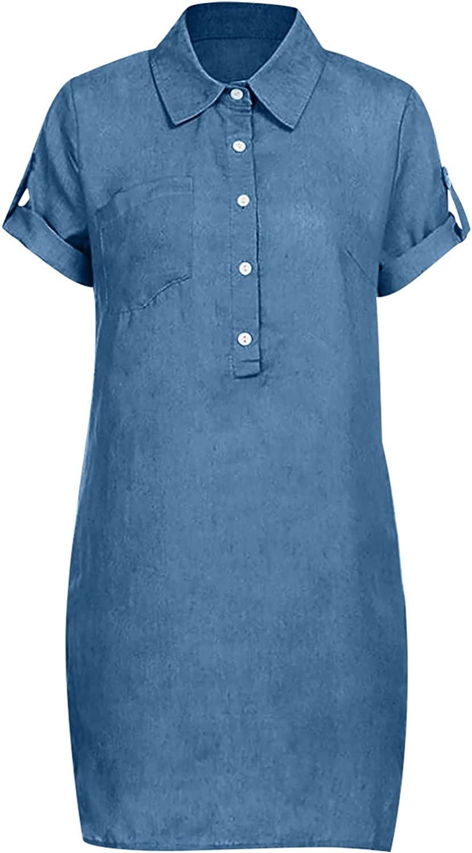 BUYYA Women's Fashion Short Sleeve Solid Color Slim Lapel Denim Dress Buttoned V-Neck Knee-Length Dress Dark Blue