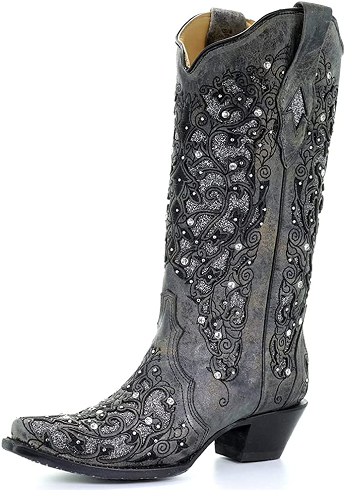 Edgchic Women Glitter Inlay Rhinestones Cowgirl Cowboy Boots Embroidered Wide Mid Calf Western Boots