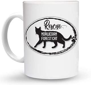 Makoroni - RESCUE NORWEGIAN FOREST CAT Mug - 11 Oz. Unique COFFEE MUG, Coffee Cup