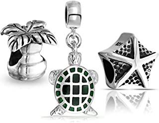 Nautical Turtle Starfish Palm Tree Mix Set Of 3 Sterling Silver Dangle Bead Fit European Charm Bracelet For Women