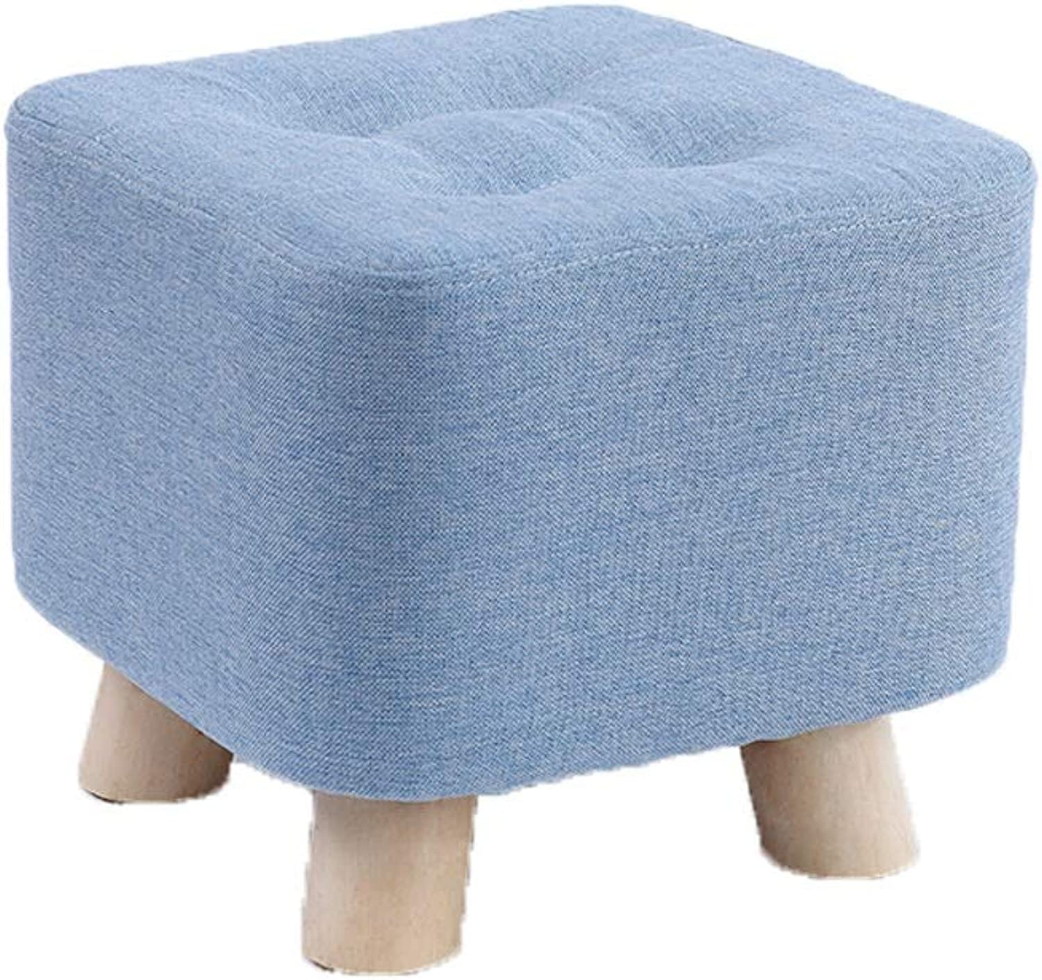 Wapipey Nordic Modern Small Stool Fashion Home Adult Sofa Square Stool Fabric Living Room Coffee Table Low Stool Block Solid Wood Creative Small Bench Size 28  28  26CM (color   bluee)
