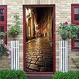 N-A Puerta 2PCS / Set engomada del PVC Autoadhesivo Impermeable extraíble 3D Decoración Estante del Vino Etiquetas de DIY Arte de Pared Pegatinas Porte (Color : DZMT007, Sticker Size : 77x200cm)