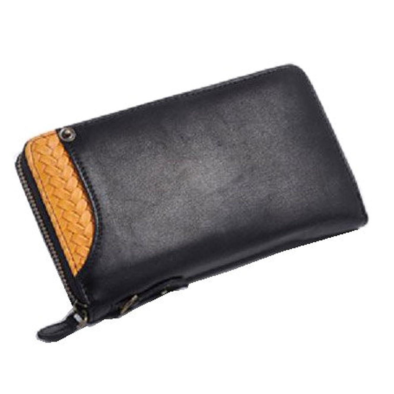 時代すり危機[イギンボトム]  かっこいい男のラウンド長財布 (カードスライダー IG-601) (ブラック×キャメル)