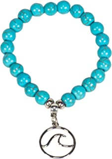 BlueRica Silver Color Wave Charm on Turquoise Howlite Ball Beads Stretch Bracelet