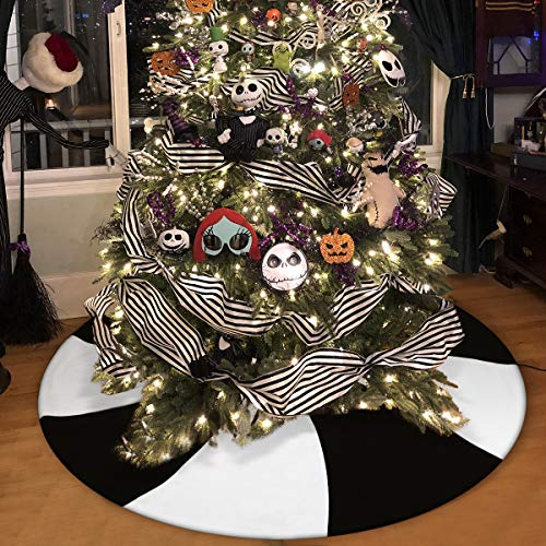 Christmas&Halloween Tree Skirt,48' Black&White Lollipop Xmas Tree Mat for Holiday Party Decorations