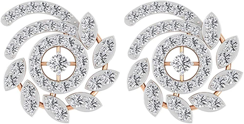 0.65 Max 73% OFF Ct Diamond Now on sale Flower Wedding Unique Earring Vintage