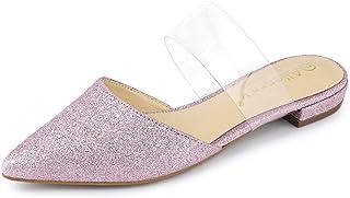 Allegra K Women's Glitter Clear Strap Flat Mules