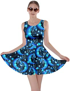 CowCow Womens Starry Night with Shiny Silver Stars and Stripes Space Galaxy Skater Dress, XS-5XL