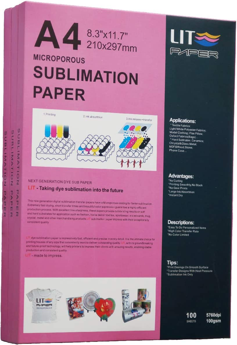 LIT Sublimation Paper 8.3 Great interest x 11.7 - 100 He Inches Max 70% OFF Sheets 100gsm