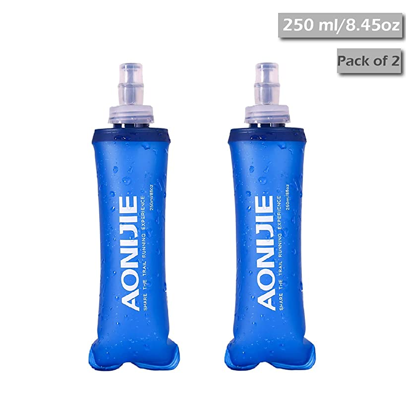 TRIWONDER TPU Soft Folding Water Bottles BPA-Free Collapsible Flask for Hydration Pack - Ideal for Running Hiking Cycling Climbing