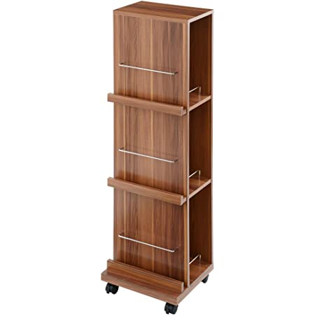 ぼん家具 本棚 幅35×奥行29×高120cm マガジンラック ブックタワー CD ウォールナット