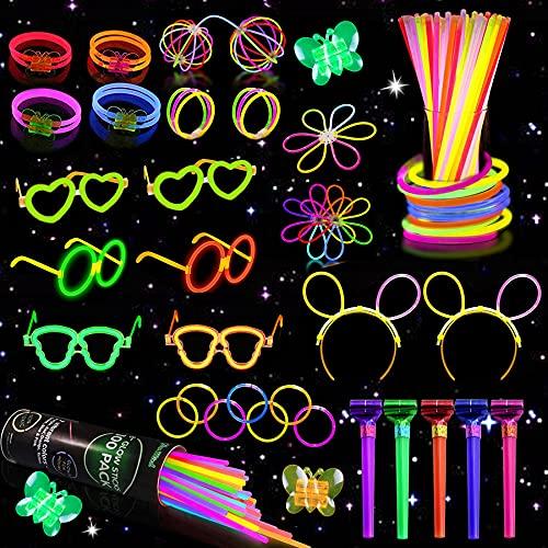 Sunshine smile Juego de 333 barras luminosas de neón, pulseras luminosas, juego de barras luminosas para niños, barra luminosa de neón, pulsera fluorescente para Halloween, Navidad