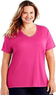 Just My Size Womens OJ253 Cooldri S/S V-Neck Short Sleeve Shirt - Pink - 28