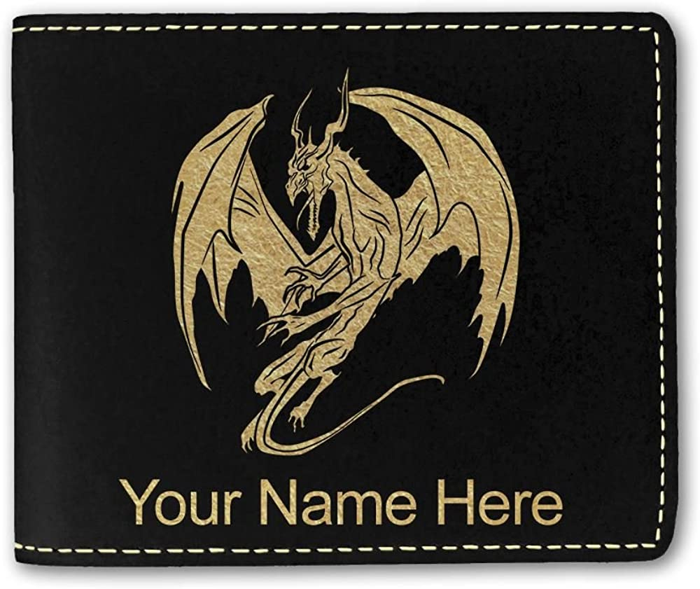 Faux Leather Wallet, Dragon, Personalized Engraving Included
