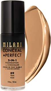 Milani Conceal + Perfect 2-in-1 Foundation + Concealer - Tan (1 Fl. Oz.) Cruelty-Free Liquid Foundation - Cover Under-Eye ...