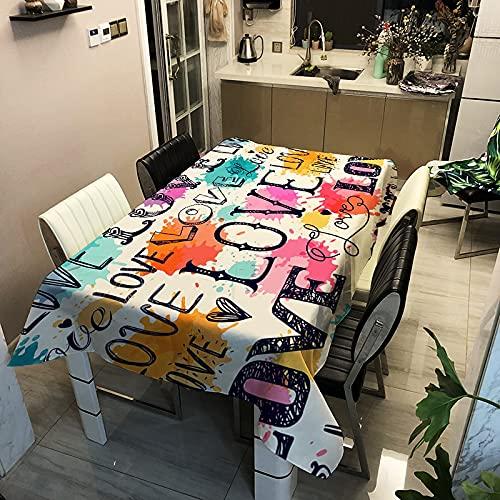Motif d'amour Nappe imperméable rectangulaire Table à Manger Couverture Table Basse Salon Cuisine décoration Nappe A1 140x200 cm