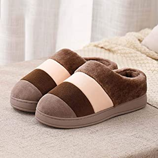 Men's Cotton Slippers Indoor Female Bag with Extra-Large Size Thick Bottom Warm Non-Slip Couple Slippers,46—47