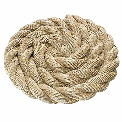 ProManila Rope – Three Strand Twisted Rope with a 1 1/2 Inch Diameter – Choose 10, 25, 50, 100ft Lengths