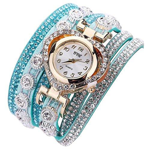 Relojes Pulsera Mujer, K-youth Mujeres Estilo Bohemio de Estilo Tejido Pulsera de Cuero Mujer Reloj de Pulsera analógico dial analógico de Cristal de la Vendimia de Las Mujeres (Verde)