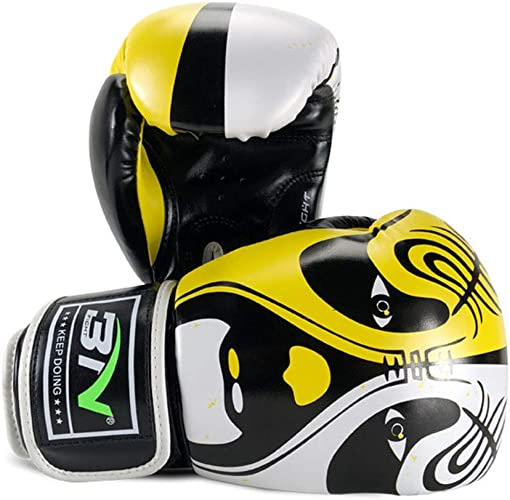 Jiahe équipeHommest de Gants de Boxe Gants de Boxe Sparbague Gear 3 Couleurs Disponibles pour Le Kickboxing MMA TKD Thai Kick 10OZ 12OZ,jaune,12OZ