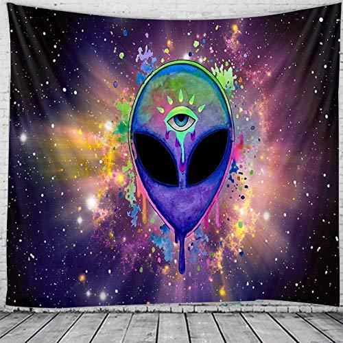 KHKJ Tapiz de alienígenas del Espacio Indio Mandala Hippie Tapiz de macramé Colgante de Pared decoración Boho Tapiz de brujería psicodélica A2 200x150cm