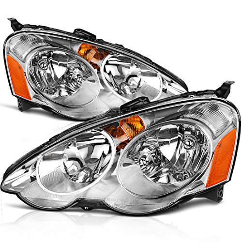 AUTOSAVER88 Headlight Assembly for 2002 2003 2004 Acura RSX Headlamp Replacement, Chrome Housing Amber Reflecto