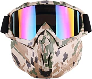 EKIND Tactical Paintball Mask, Retro Motorcycle Goggles with Removable Face Mask, Airsoft Safety Goggles Mask UV400 Protec...