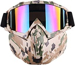 EKIND Tactical Paintball Mask, Retro Motorcycle Goggles with Removable Face Mask, Airsoft Safety Goggles Mask UV400 Protection Compatible for Nerf Elite Toy Gun Game Rival Ball (Camo)