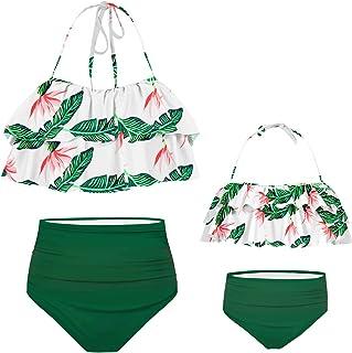 storeofbaby Girls Swimsuit Two Pieces Women Bikini Set Ruffle Falbala Cute Family Matching Bathing Suits