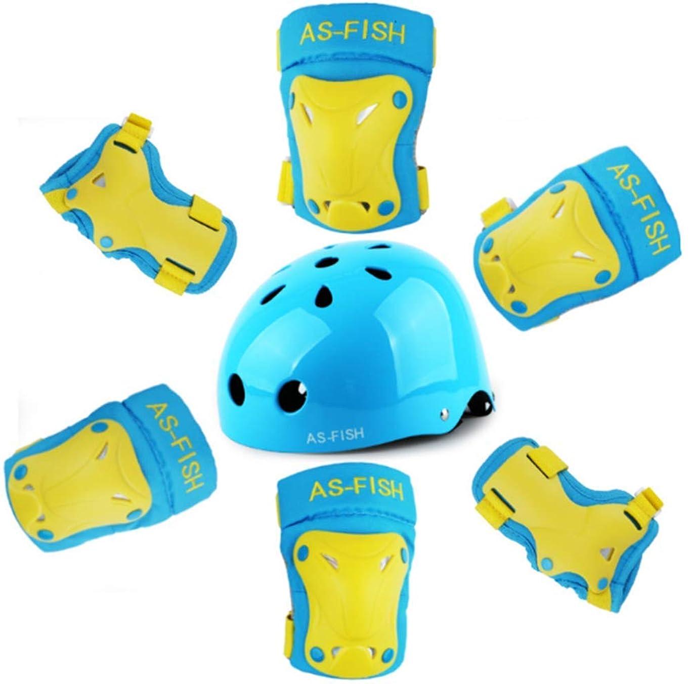 振幅洪水インドAS-FISH 2019 最新版 キッズ 軽量 ヘルメット + プロテクター 膝パッド?ひじパッド?手首ガード サイクリング 自転車 スケート びっくり キッズ 子供 小学生 2-12歳の子供 12歳以上の青少年用