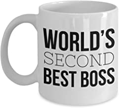 The World's Second Best Boss Coffee Mug – Funny Joke Gift Cup to Work Manager 2nd Supervisor – Okayest – Funniest Ever Present