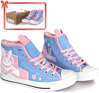Overwatch DVA Shoes Pink Bunny Ears Canvas Blue Flats Cosplay Costume Accessories for Girls Womens