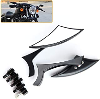 Ugthe 2Pcs Universal Motorcycle Motorbike Handlebar Mount Safety Side Rearview Mirror - Black