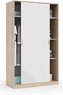 PEGANE Armoire avec 2 Portes coulissantes Coloris Blanc/chêne Canadien - Dim : H 200 x L 120 x P 50 cm