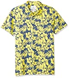 Amazon Brand - 28 Palms Men's Standard-Fit Performance Cotton Tropical Print Pique Golf Polo Shirt, Blue/Yellow Hibiscus Floral, X-Large